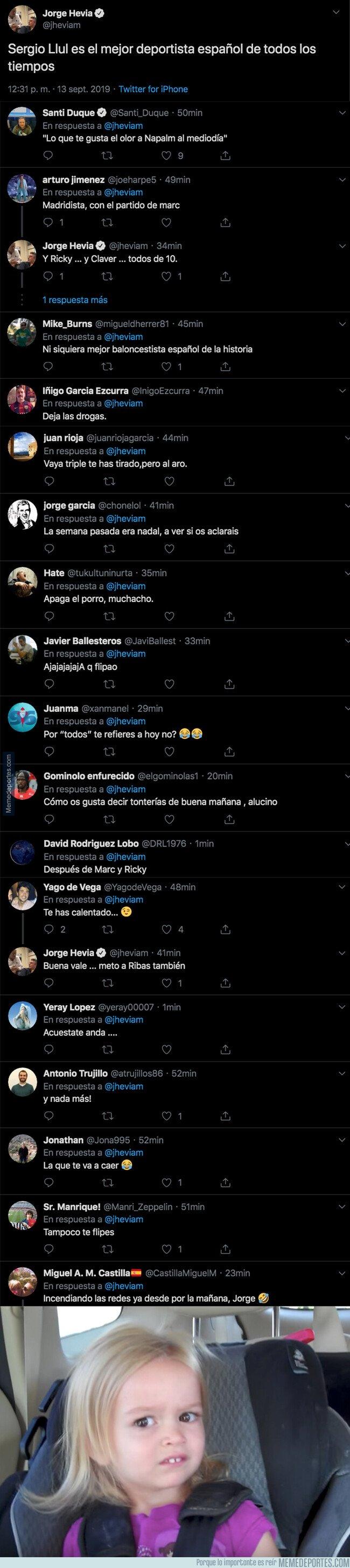 1085662 - Jorge Hevia (COPE) dice que Llull es el mejor deportista de todos los tiempos y todo el mundo le está poniendo fino en las respuestas