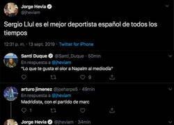 Enlace a Jorge Hevia (COPE) dice que Llull es el mejor deportista de todos los tiempos y todo el mundo le está poniendo fino en las respuestas