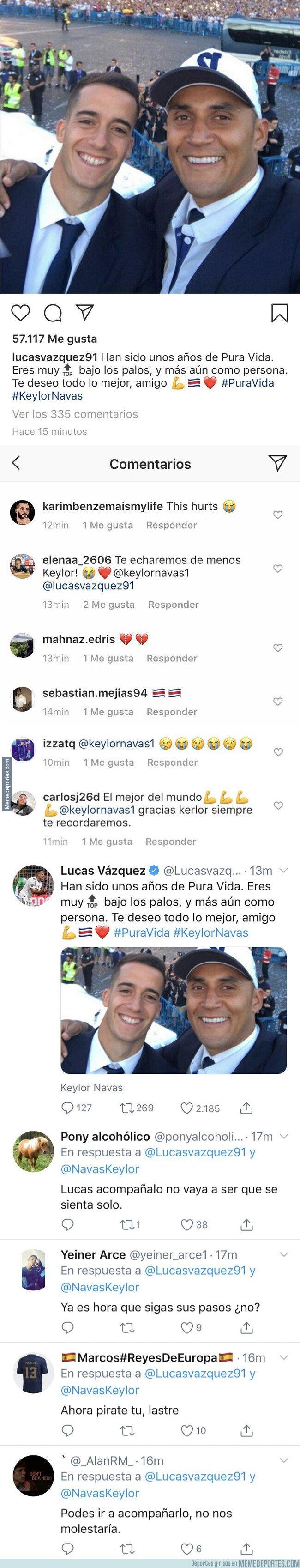 1085668 - Te meas de la risa: Esta es la gran diferencia de comentarios que recibió Lucas Vázquez en Twitter e Instagram al despedirse de Keylor Navas