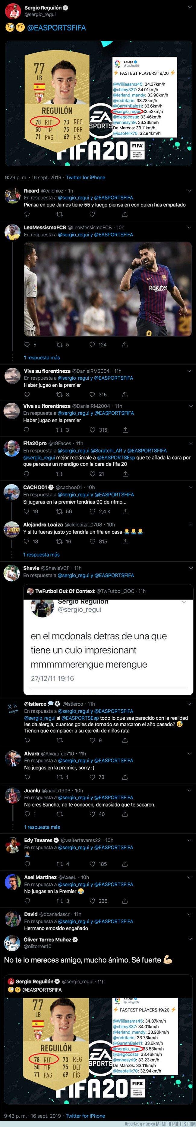 1085983 - Sergio Reguilón se queja de la media que le han puesto en el FIFA 20 en el 'ritmo' y todo el mundo le está explicando el motivo y mandando ánimos