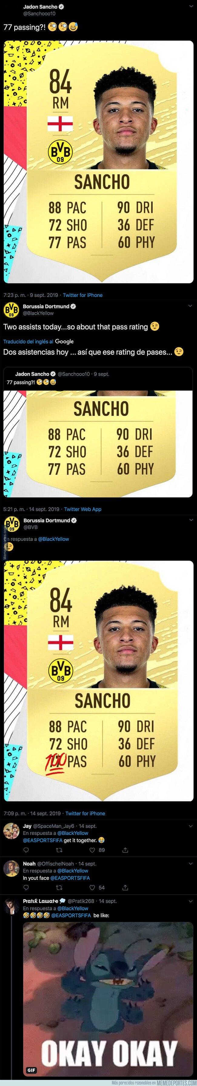 1085984 - Jadon Sancho se la saca en un partido con el BVB y el equipo alemán actualiza su carta del FIFA tras el lamentable rating de pase que le han puesto