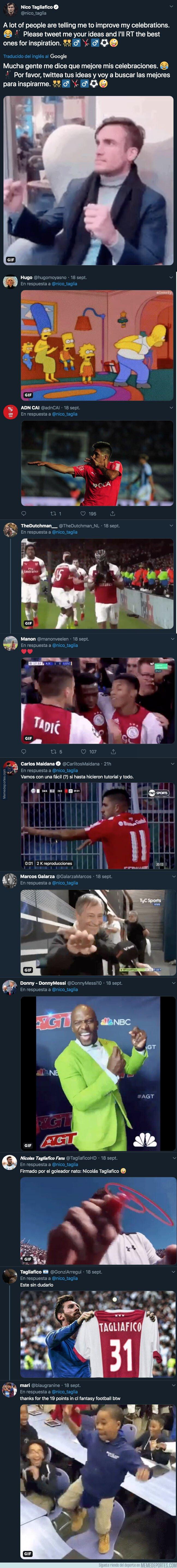 1086278 - Nicolás Tagliafico pide nuevas ideas para celebrar sus goles y le están llegando respuestas totalmente épicas