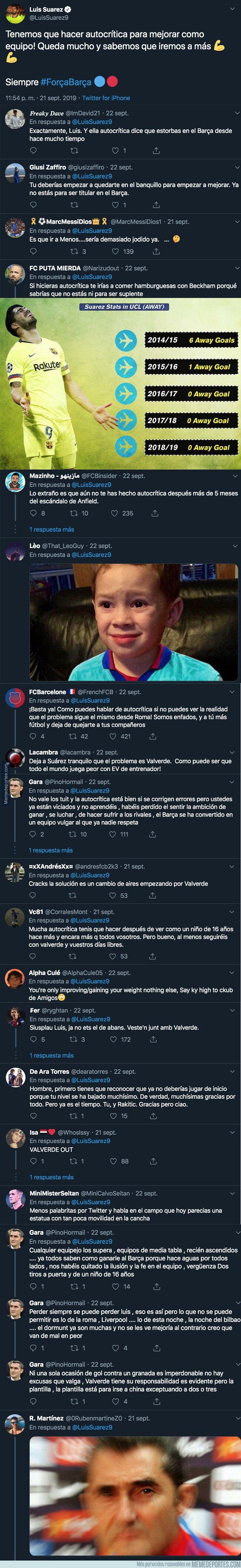 1086529 - Luis Suárez manda este tuit tras perder en Liga contra el Granada y le cae encima una tormenta de arena de odio