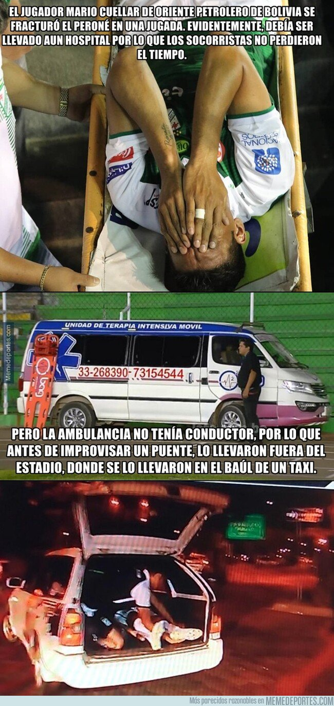 1086634 - En Bolivia se llevaron a un jugador en el maletero de un taxi tras sufrir una fractura.