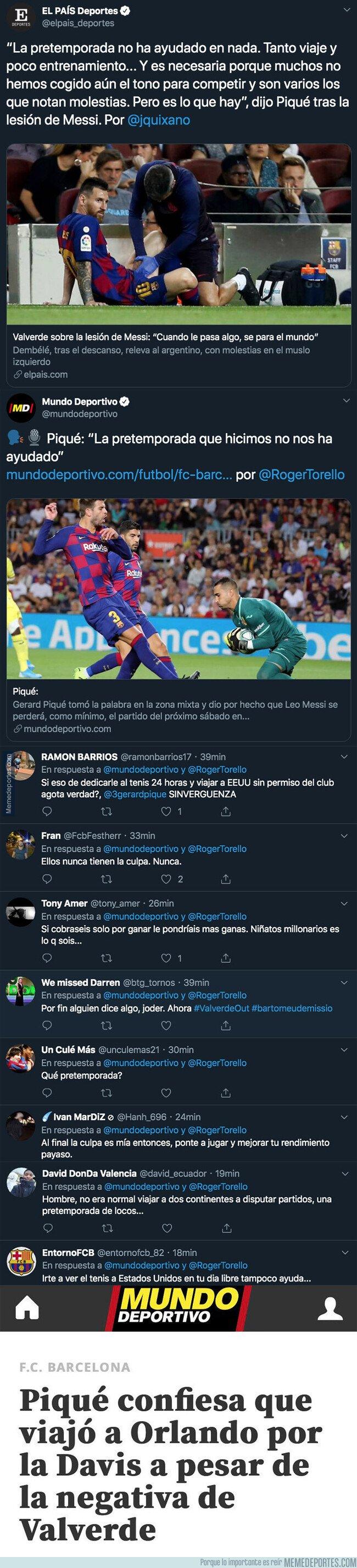 1086739 - El doble rasero increíble que practica Gerard Piqué mientras critica la mala pretemporada del Barça que le deja en evidencia