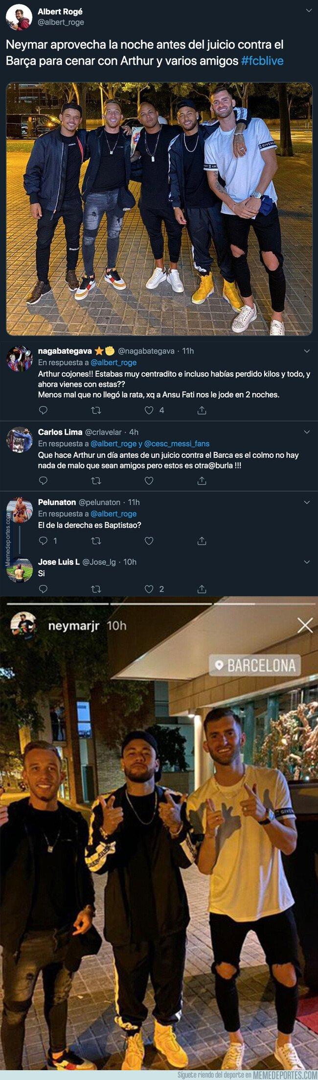 1086922 - Lío monumental por la fiesta que se pegó Arthur junto a Neymar el día antes del juicio contra el Barça de los Neymar