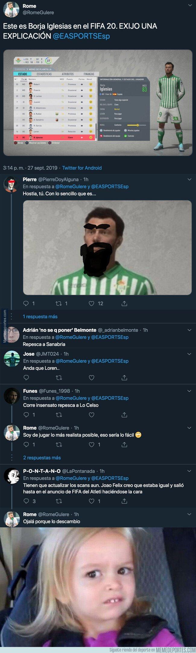 1086958 - Nadie entiende nada: Así es la cara de Borja Iglesias en el nuevo FIFA 20