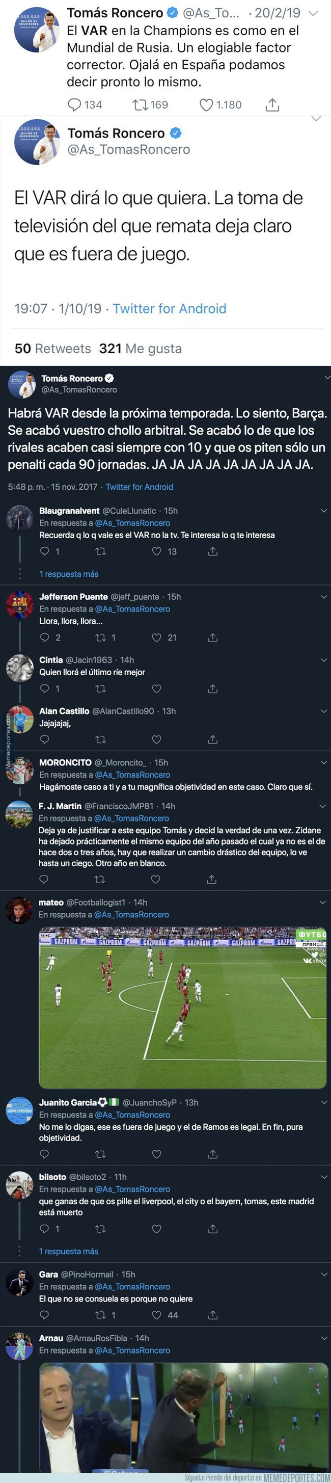 1087341 - El ridículo monumental de Tomás Roncero con el VAR y el gol de Sergio Ramos y su posible fuera de juego
