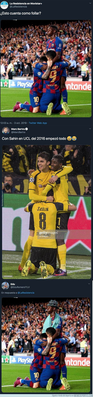 1087486 - La brutal respuesta de Marc Bartra a 'La Resistencia' recordando otra foto de Dembelé en el Borussia Dortmund en 2016 con tintes pornográficos