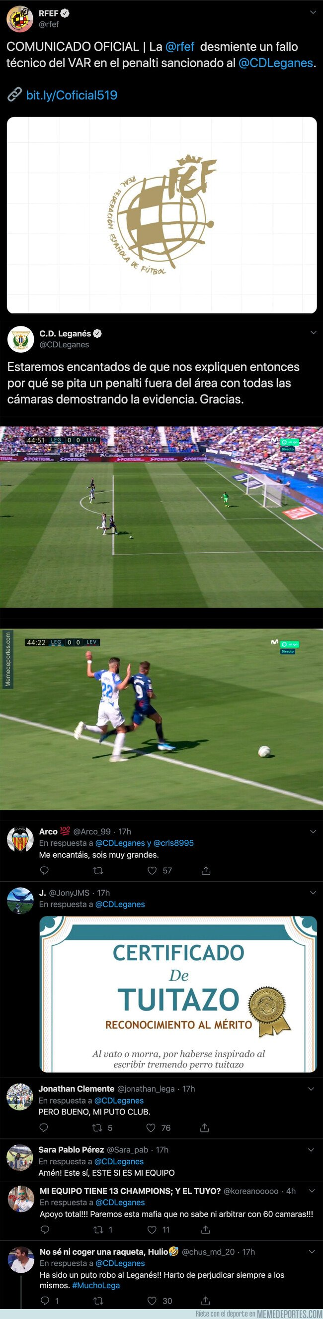 1087738 - El Leganés le ha pegado un hachazo espectacular a la Liga por pitarles un penalti fuera del área