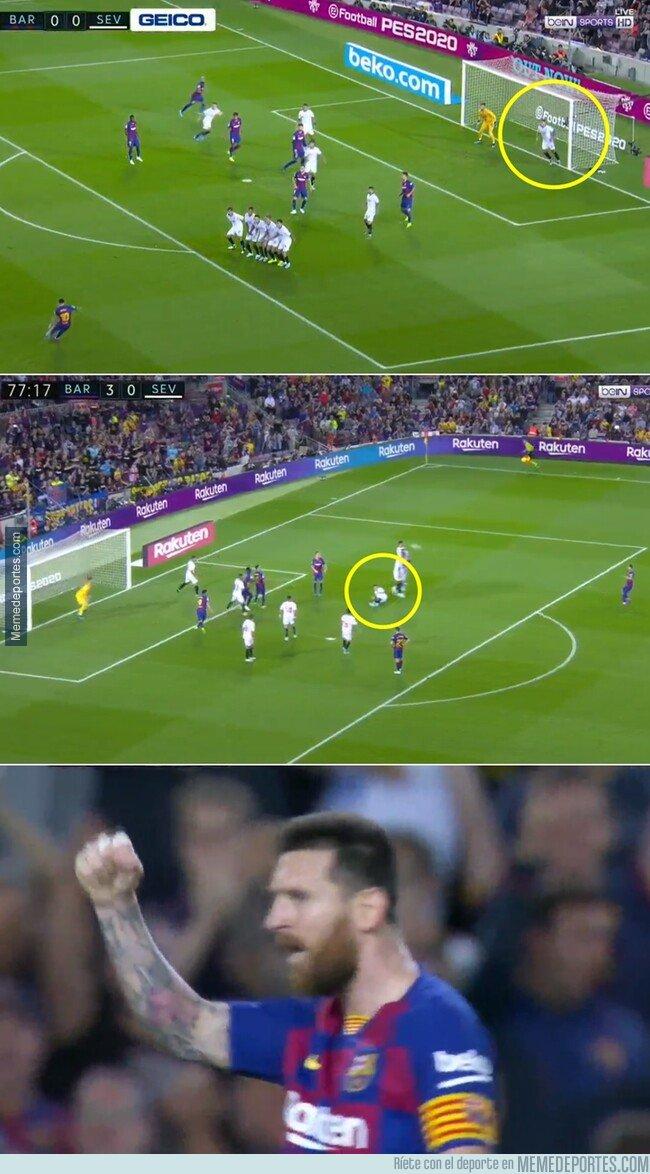 1087888 - Los Sevillanos practicaron todas las tácticas en los tiros libres de Messi. Aun así, no funcionó.