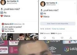 Enlace a El tweet que Casillas obligó a borrar al AS tras devolverles el mismo veneno.