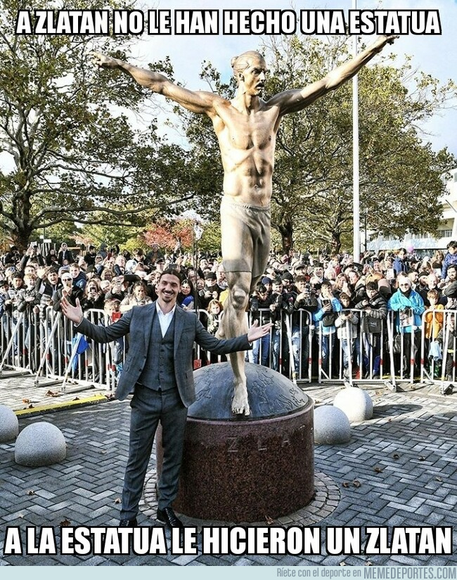 1088014 - La estatua de Zlatan conoció a su 'yo' de carne y hueso