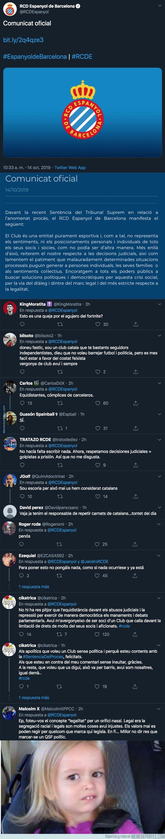 1088410 - Todo el mundo está cargando contra el Espanyol por el mensaje que han publicado tras la sentencia del Procés
