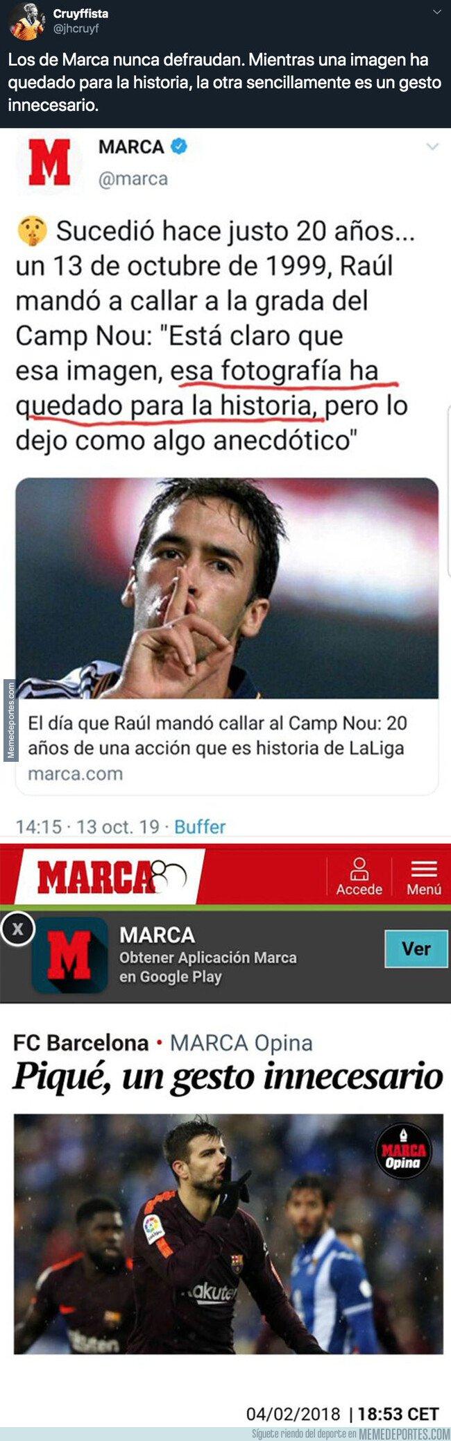 1088420 - El diario MARCA queda retratado por completo con estas dos noticias de Raúl y Piqué varios años después