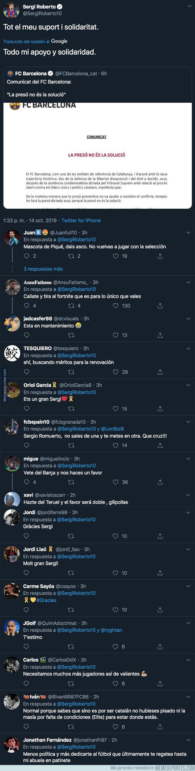 1088438 - Sergio Roberto divide internet con un mensaje apoyando al Barça contra la sentencia del Procés