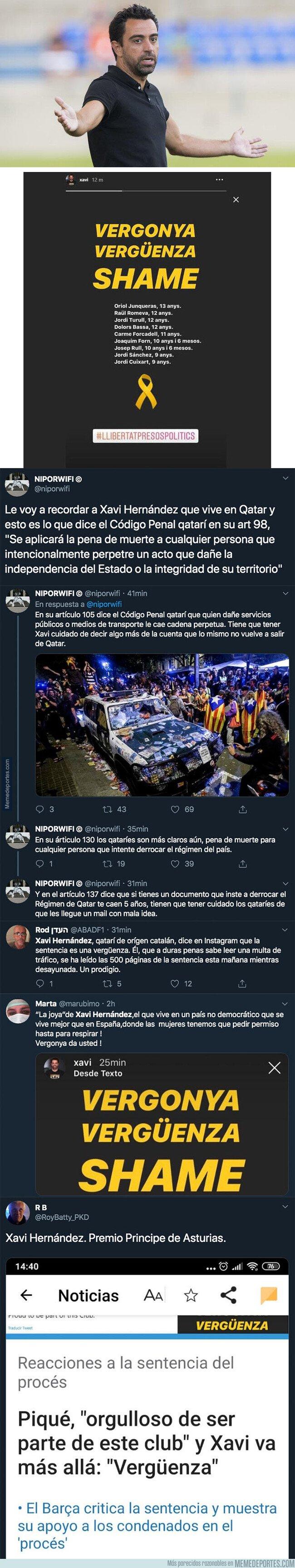 1088439 - Xavi Hernández incendia por completo internet tras mostrar su rechazo a la sentencia del Procés con este mensaje