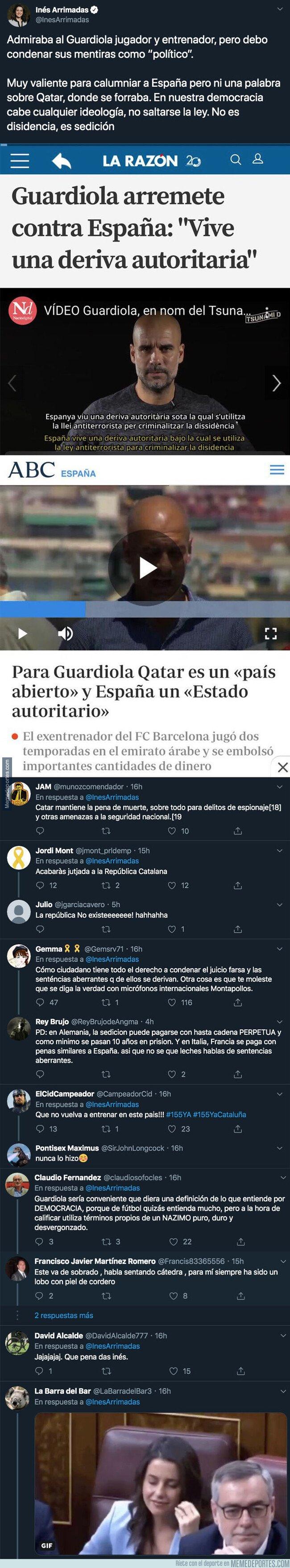 1088504 - Inés Arrimadas carga contra Pep Guardiola por su mensaje político con este duro tuit