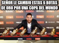 Enlace a Messi cambia sus botas de oro por algo que quiere más