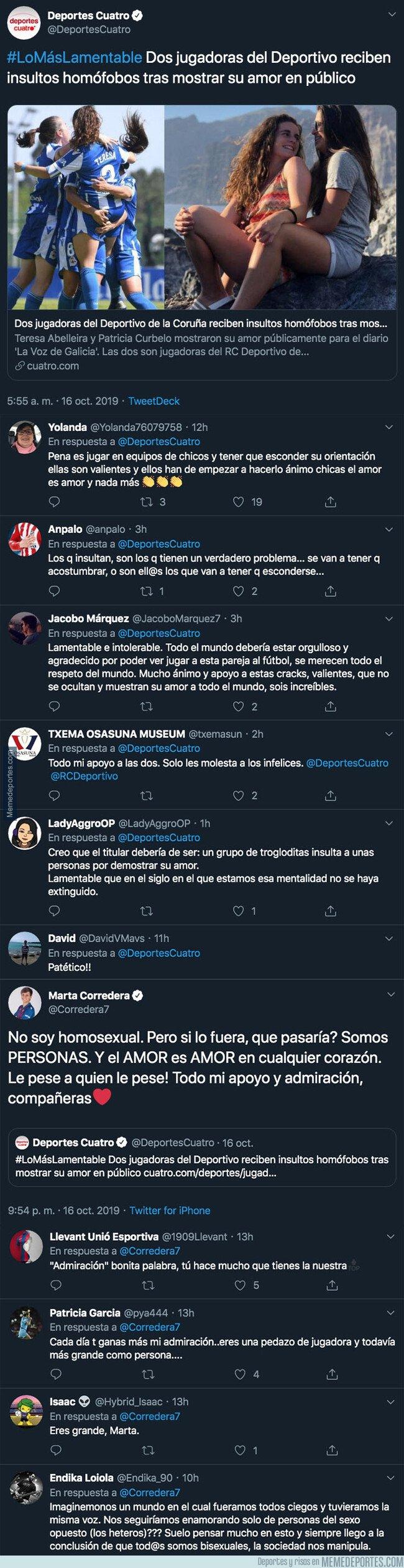 1088636 - La enorme respuesta de Marta Corredera, jugadora del Levante, defendiendo a dos del Depor tras haber recibido insultos homófobos en un partido