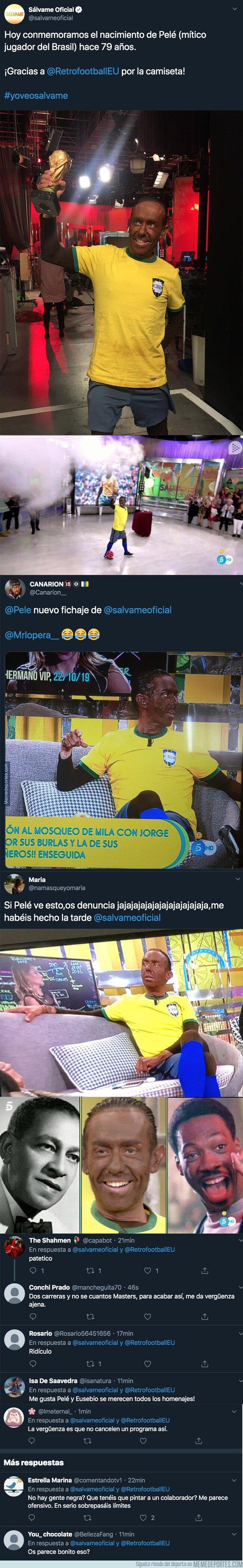 1089099 - Polémica máxima: Así han disfrazado a un colaborador de Sálvame para homenajear a Pelé y está indignando a todo el mundo