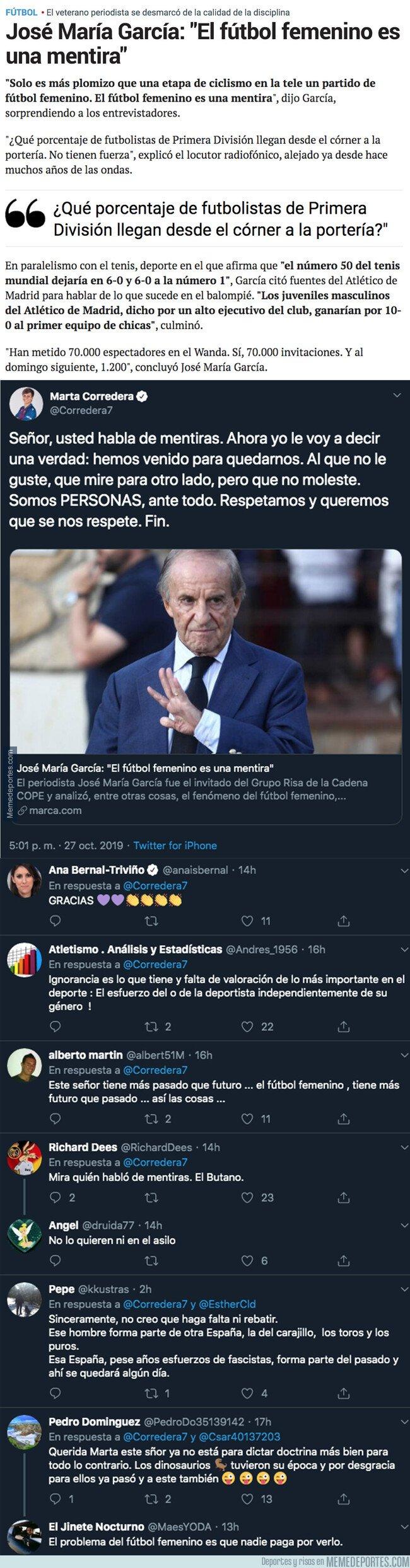 1089470 - La futbolista Marta Corredera le calla la boca a José María García tras decir todas estas burradas sobre el fútbol femenino