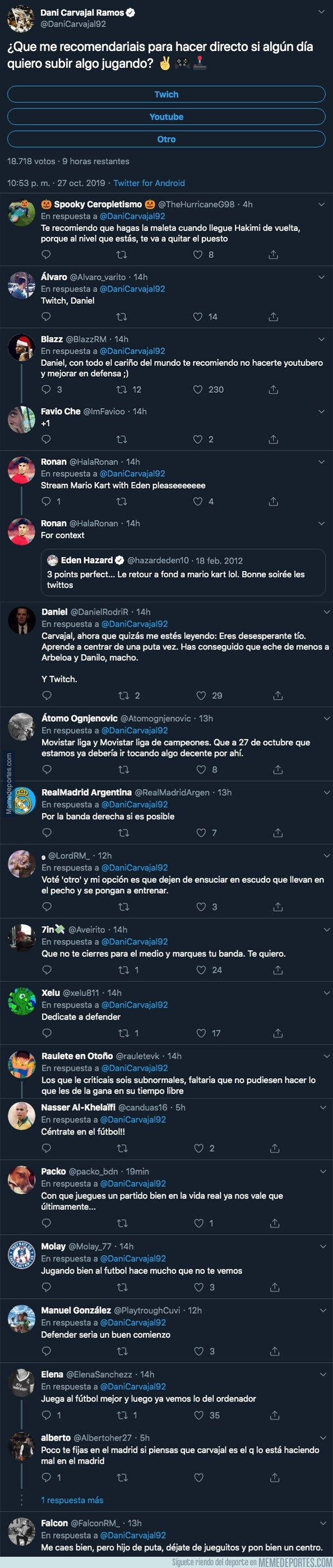 1089484 - Dani Carvajal pregunta en que plataforma puede subir vídeos suyos jugando a videojuegos y la gente no tiene piedad en las respuestas