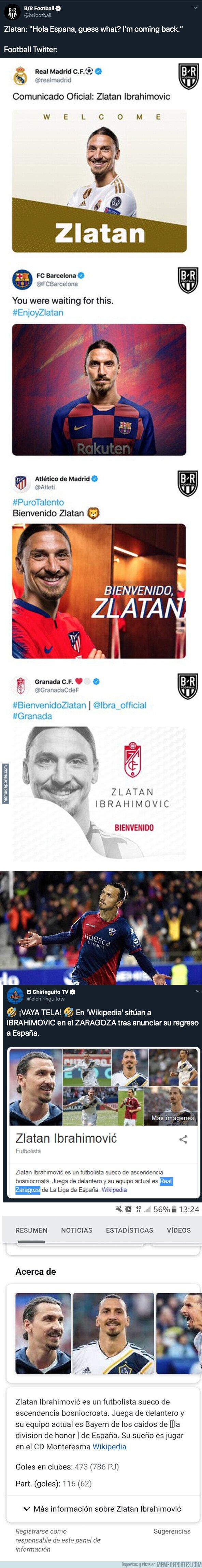 1089588 - Zlatan Ibrahimovic anuncia su vuelta a España y estas son las mejores reacciones que ha habido desde entonces