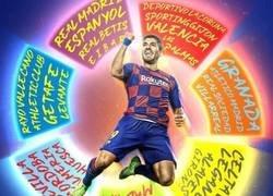 Enlace a Luis Suárez ya ha anotado frente a 27 equipos distintos en La Liga, por @brfootball
