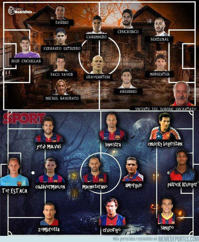 1089724 - Las plantillas del Barça y Madrid en versión Halloween