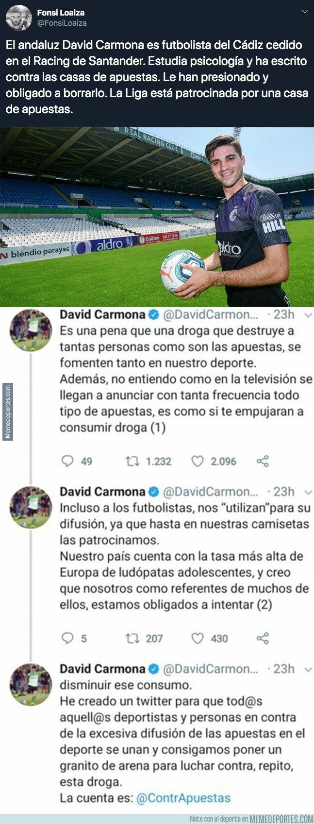 1089762 - Escándalo tremendo: estos son los tuits de David Carmona, futbolista del Cádiz, que ha escrito contra las casas de apuestas y que le han obligado a borrar