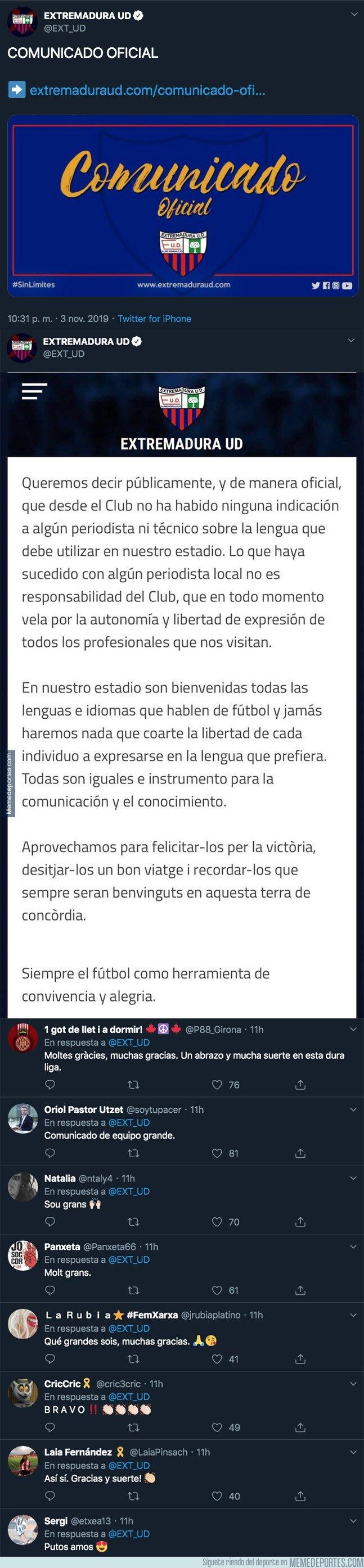 1090021 - El comunicado del Extremadura UD que está aplaudiendo toda Catalunya entera