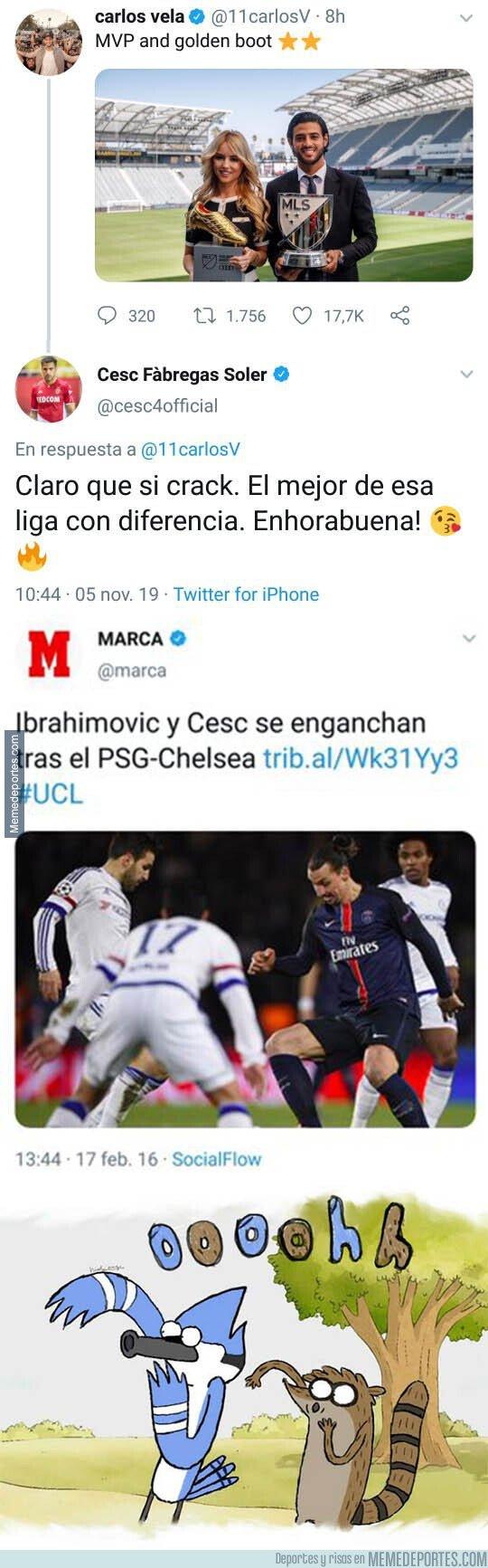 1090113 - Carlos Vela es elegido el MVP de la MLS y Cesc Fábregas aprovecha para lanzarle un dardo indirectamente a Zlatan Ibrahimovic