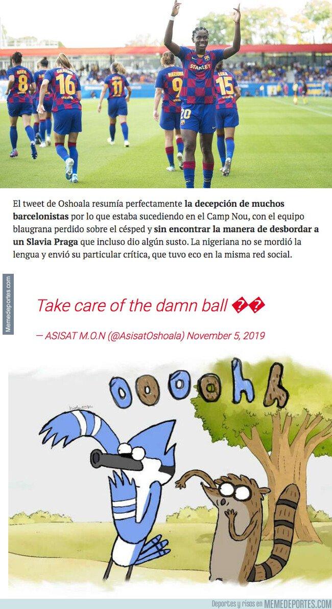 1090223 - El tremendo mensaje de Asisat Oshoala durante el partido de Champions para Valverde que ha tenido que borrar