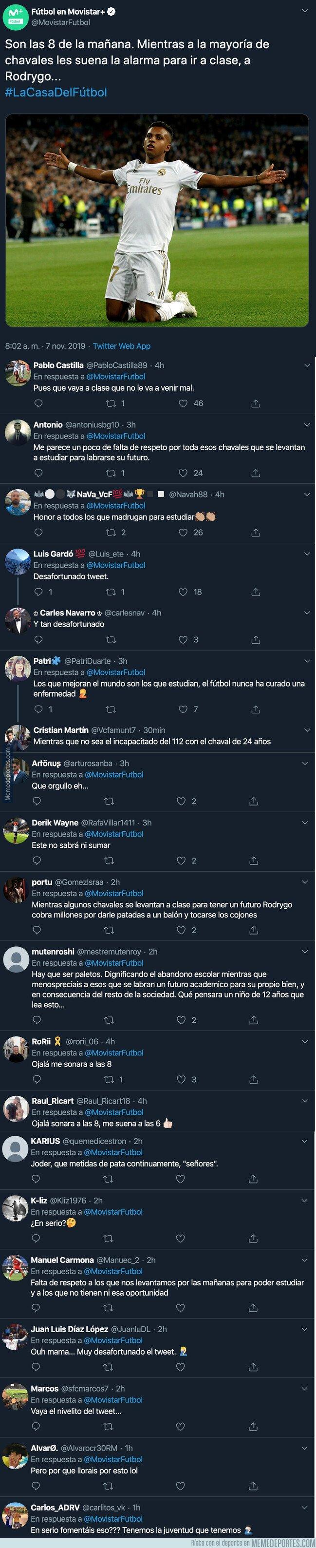 1090364 - El lamentable tuit de Movistar+ Fútbol sobre Rodrygo que está haciendo enfadar a muchos estudiantes