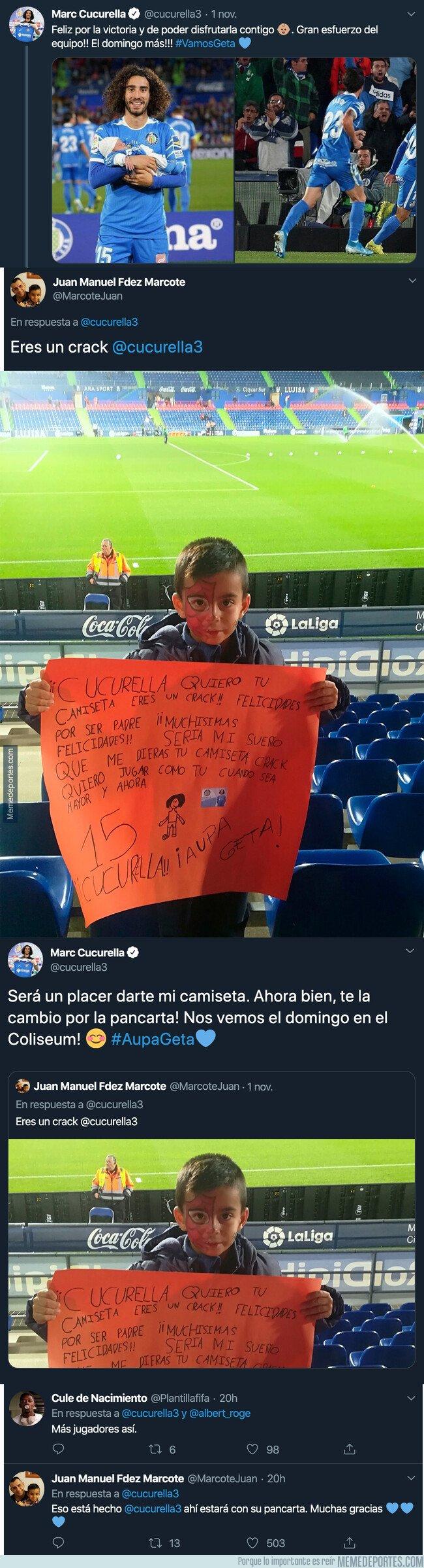 1090477 - El enorme gesto de Marc Cucurella con un joven aficionado del Getafe que le pidió su camiseta en una pancarta