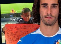 Enlace a El enorme gesto de Marc Cucurella con un joven aficionado del Getafe que le pidió su camiseta en una pancarta