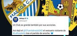 Enlace a El gran detalle del Fuenlabrada en su visita a la Rosaleda que todos los aficionados al fútbol están aplaudiendo