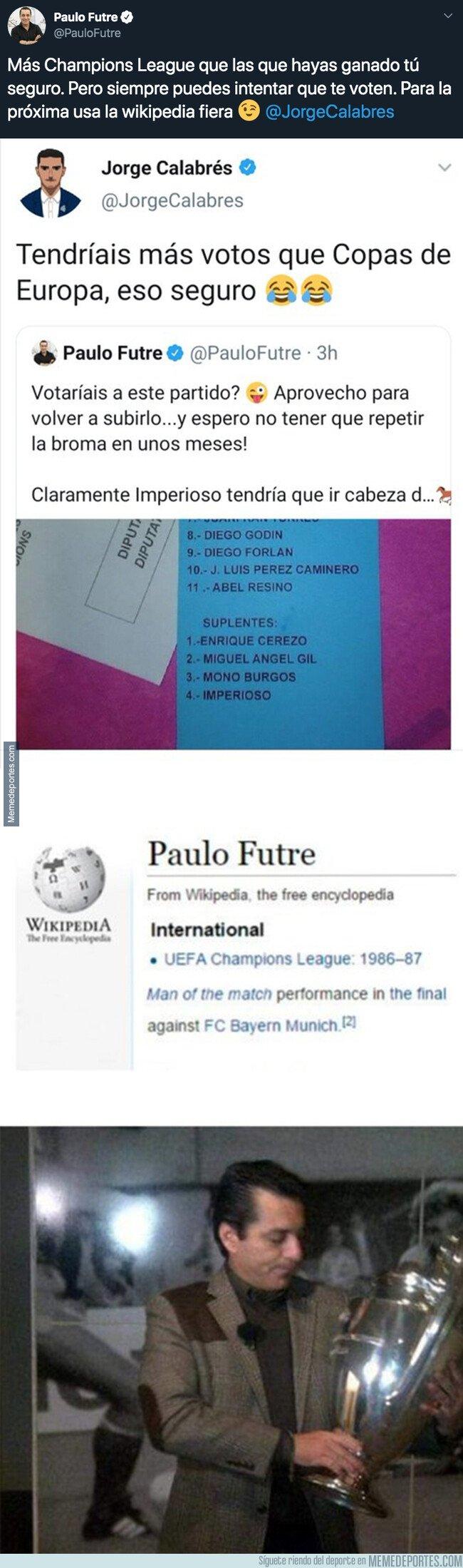 1090782 - Un periodista madridista intenta reírse de Paulo Futre y sus Champions y sale trasquilado