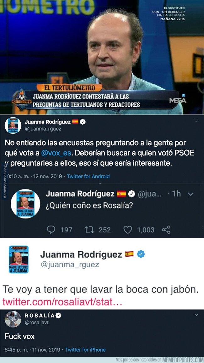 1090864 - Juanma Rodríguez (El Chiringuito) estalla contra la cantante Rosalía tras poner este mensaje sobre VOX y borra los mensajes más tarde