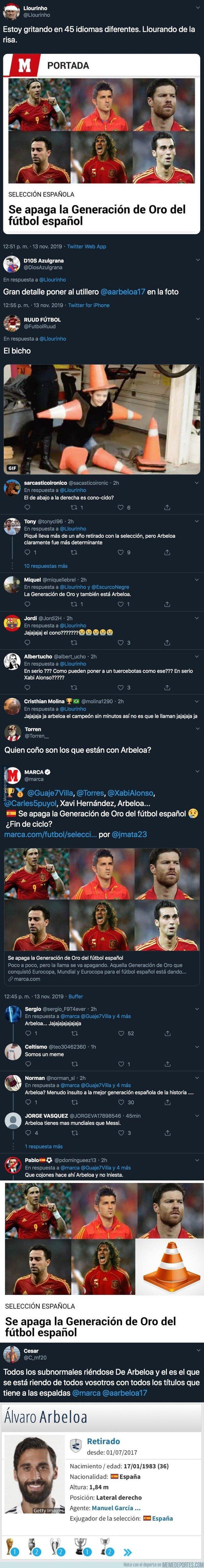 1090990 - Cachondeo absoluto con MARCA por haber incluído este jugador entre las leyendas de España tras la retirada de Villa