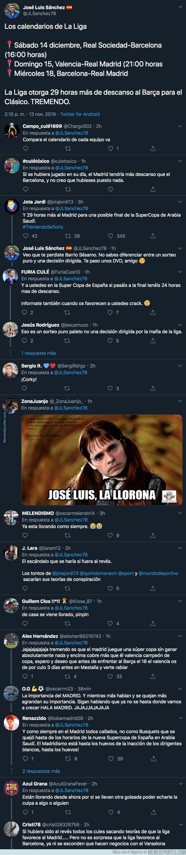1091025 - José Luis Sánchez está literalmente llorando con este mensaje en Twitter y todo el mundo le responde con dureza