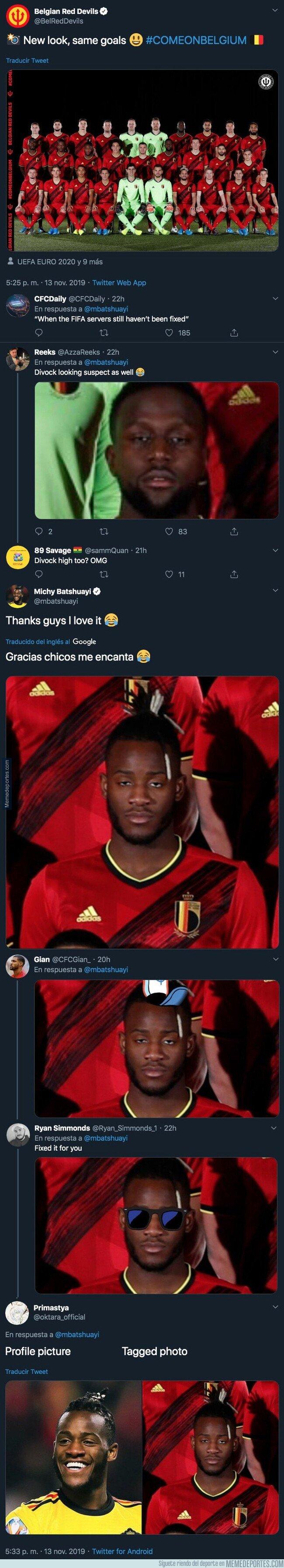 1091099 - La selección de Bélgica sube la foto oficial de la plantilla y Michy Batshuayi no está nada contento por la cara que le han sacado