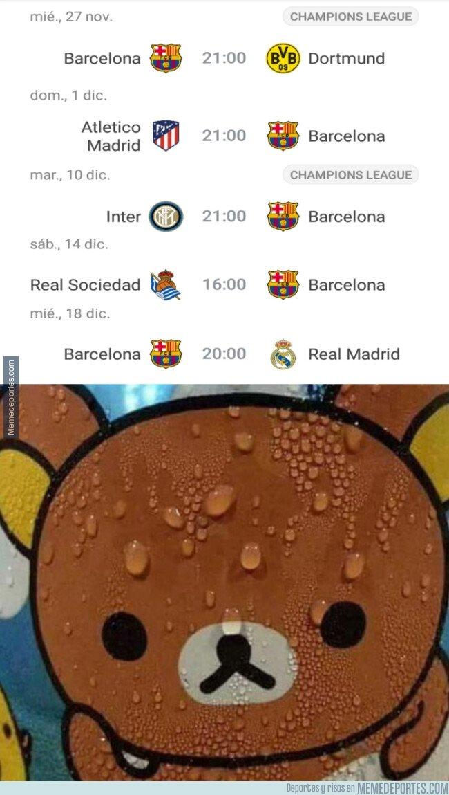 1091364 - Al Barça le espera un calendario complicado en el próximo mes