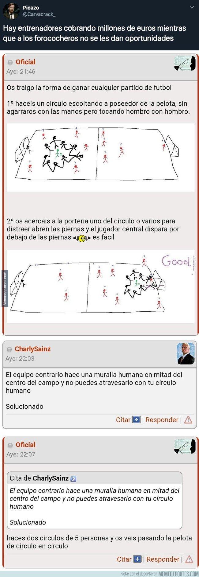 1091365 - BRUTAL: Un usuario de Forocoches descubre la mejor táctica para ganar partidos de fútbol con la que los equipos serían invencibles