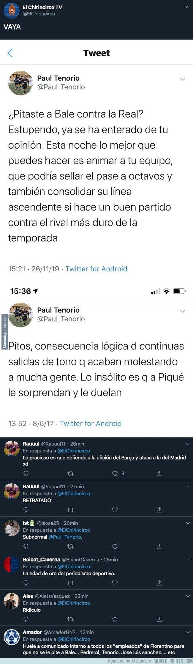 1092058 - El doble rasero tremendo de Paul Tenorio, periodista de Real Madrid TV hablando de los pitos a Bale y a Piqué