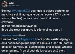 Enlace a Un alumno tiene clase durante el partido del Angers, le pide un justificante al club y le responden con esta maravilla para que no vaya a la escuela