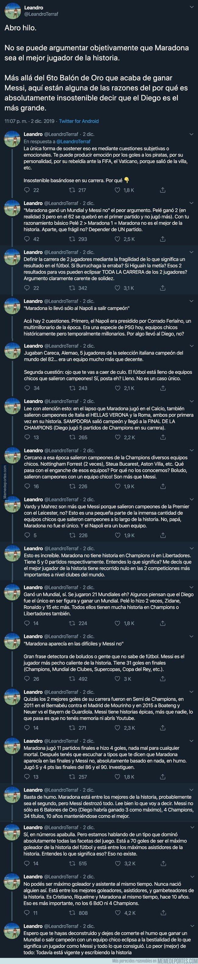 1092749 - Crean un hilo en el que explican el motivo por el que Maradona no es el más grande de todoslos tiempos y los motivos son más que convincentes