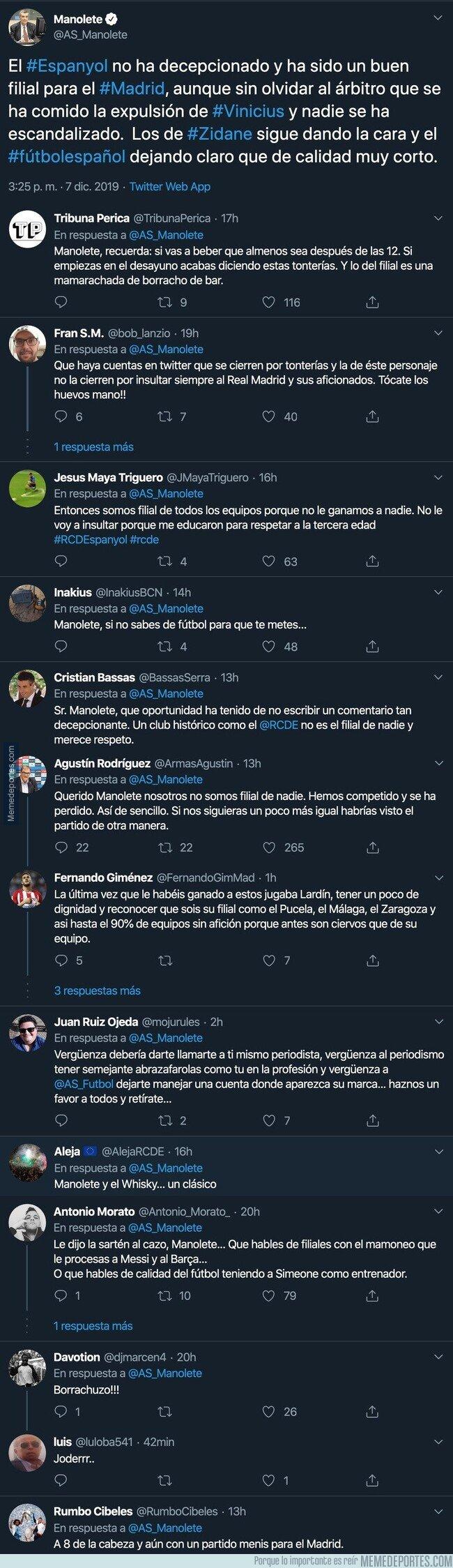 1092944 - El periodista Manolete la lía pardísima al decir esto sobre el Espanyol tras perder en el Bernabéu
