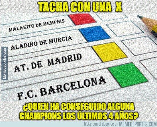 1093352 - Todos son risas hasta q te das cuenta de q Malakito de  Memphis y Aladino de Murcia, tienen las mismas Champions q el At. Madrid y el Barça estos últimos 4 años